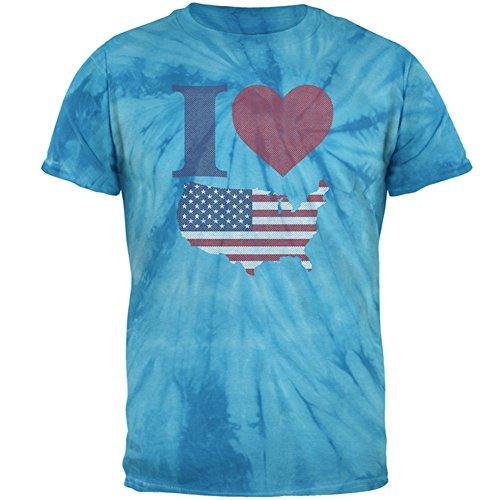 Herz Tie-dye-t-shirt (4. Juli I Love America Halbton Herren-T-Shirt Windrad blau Tie-Dye Herz 2XL)