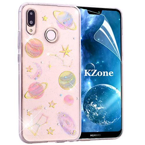 Lite Schale (OKZone Huawei P20 Lite Hülle, Luxus Glitzer Bling Glänzende Design Weich TPU Bumper Case Silikon Schutzhülle Handy Tasche Rückseite Hülle Etui Cover TPU Bumper Schale für Huawei P20 Lite (Klar))