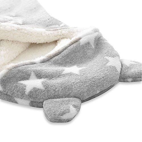 Schlafsack Neugeborenes Babydecke Swaddle Decke Kapuze Schlafsack Separate Beine Baby Pucktuch Herbst Winter Mädchen Junge Wickeldecke für 3-12 Monate Grau