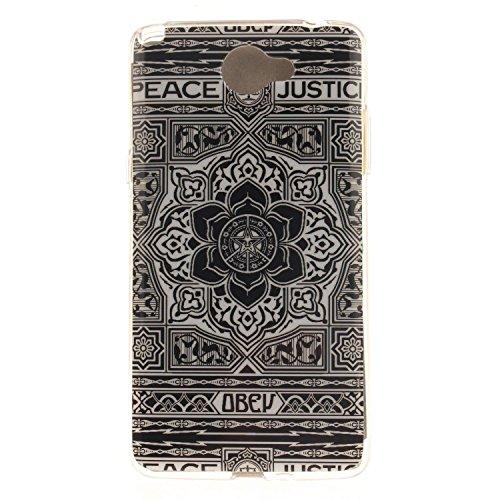 Guran® TPU Silikon Hülle für LG Bello II (5 Zoll) Smartphone Gemalt Schutzhülle Cover-Schwarze Blume
