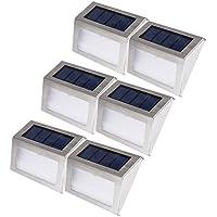 Liqoo 6 x Lampada Solare da Parete LED in Acciaio Segnapasso per Scale e Giardino (Luce Solare Del Giardino Pacchetto)