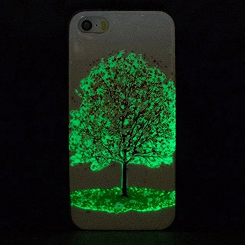 Etsue [Leuchtende Nacht] TPU Schutzhülle für iPhone 7 (4.7 Zoll) 2016 Silikon Handyhülle, Malerei Tier Blume Muster Einzigartig Night Luminous TPU Silikon Handytasche Weiche Schlank Ultradünnen Krista Night Luminous,Kirsche Blume Baum