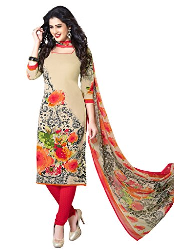 Salwar Studio Women's Beige & Red Synthetic Floral,Paisley Printed Dress Material with...