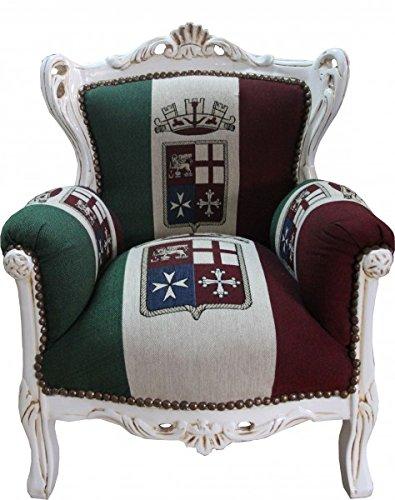 Barock Kinder Sessel Italien/Creme - Thron Italien Italienische Flagge Tron