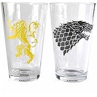 Game Of Thrones Tronos Vasos Grandes (Juego de 2) -Stark and Lannister, 450ml