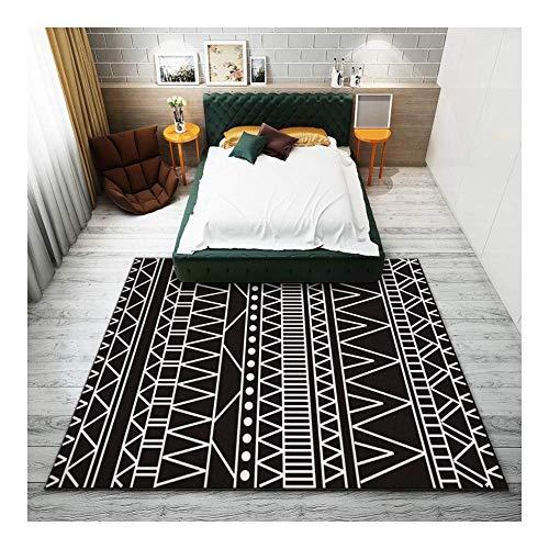 ch Mode Schwarz und Weiß 3D Gedruckt Teppich mit hoher Dichte Geeignet für Familie Wohnzimmer Schlafzimmer, 80 cm (H) X 120 cm (W) ()