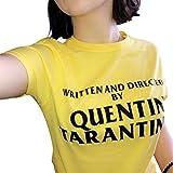 ZFFde Maglietta da donna corto Scritto e diretto da Quentin Tarantino T-shirt O-Collo da donna Stampa Summer Tops per te (Colore : Yellow, Dimensione : M)