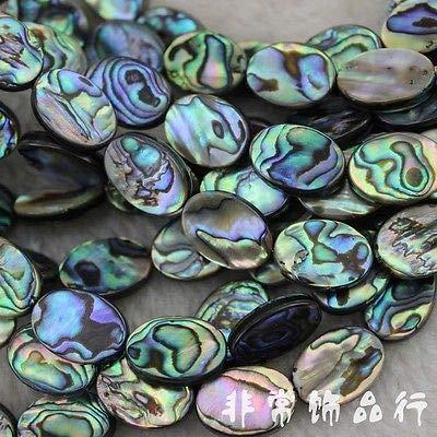 FidgetGear Ovales Abalone-Muschel-Perlen lose Edelsteinperlen Strang 38,1 cm Schmuckherstellung Perlen, 10x14mm