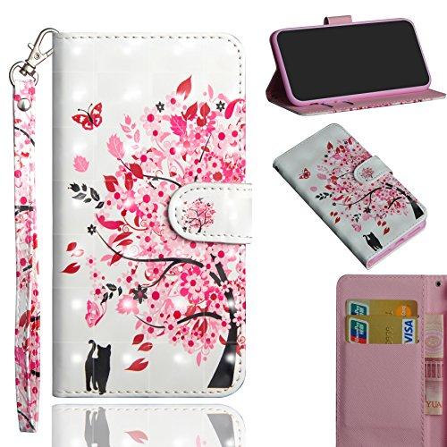 Alcatel 1X Flip Hülle, 3D Muster Hand Strap Case Tasche Magnet Handytasche [Kartensteckplatz] PU Leder Cover mit Ständer Funktion für Alcatel 1X 5059A 5059D 5059I 5059T 5059J 5059 X 5059Y (Baum)