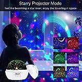 Projektor Lampe, AsperX Nachtlicht Kind Nachttischlampe Ozean Projektor & Sterne Nachtlicht 360° Grad Rotation mit 8 Farben Neuer Typ Sternenhimmel Projektor zum Schlafen Entspannen (White-A) - 3
