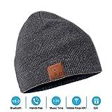 Neraon Bluetooth 5.0 Wireless Bluetooth Beanie Mütze mit abnehmbaren HD Stereo-Lautsprecher & Mic, Bluetooth Kopfhörer Beanie Musik Hüte für Outdoor-Sport (grau) …