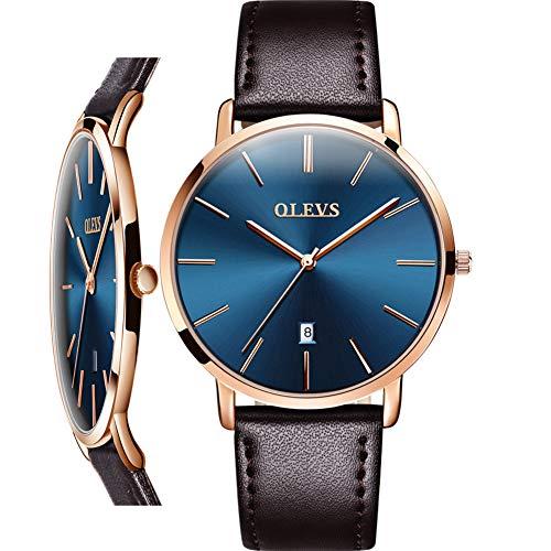 Herren braune Lederuhr mit Datum, analoge Herrenuhr minimalistische ultradünne Uhr für Männer, Herren Kleid wasserdicht Armbanduhr, Herrenuhr Blue Face