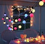 KAMACA Outdoor - Lichterkette - Gesamtlänge über 10 Meter - Garten Balkon Terrasse Sonnenschirm Party - XL Beleuchtung - Angenehm heitere (aber nicht grelle) bunte Outdoor - Lichterkette mit 20 Lampen - Farbe : BUNT - sparsame LED Technik - inklusive Außen-Trafo, Gesamtlänge inklusive Zuleitung 1070 cm , für den Innen - und Aussen - Bereich geeignet - aus dem KAMACA-SHOP