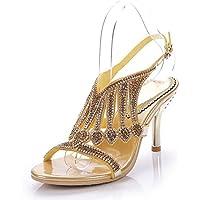 GAIHU Womens Señoras Rhinestones sandalias artesanales boda Verano Dreamgirl tiras de mediados del talón Bridemaid parte Prom zapatos tamaño 35-43