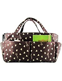 Periea Handbag Organiser, 14 Compartments - Tilly (Black With Pink Hearts)