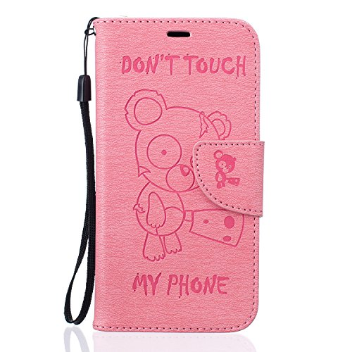Qiaogle Telefon Case - PU Leder Wallet Schutzhülle Case für Apple iPhone 5 / 5G / 5S / 5SE (4.0 Zoll) - BF68 / Don't touch my phone & Grau Bär BF66 / Pink