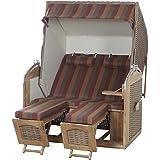 Sunny Smart 70016814/1199 Strandkorb Rustikal 300 Z Comfort Teak XL PE Geflecht antik mocca, Stoff Streifen grau/rot/g, braun