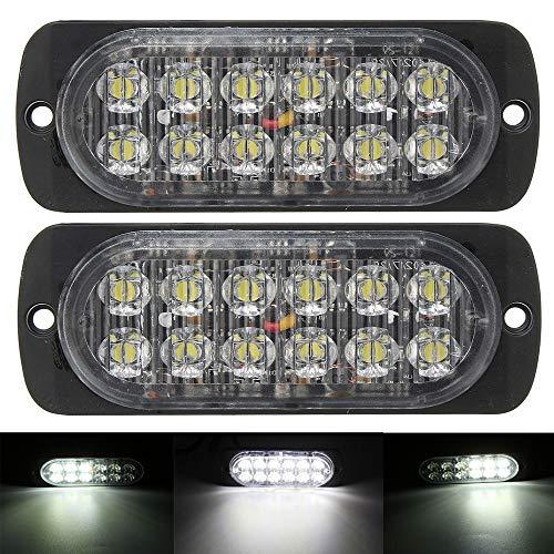 Hehemm Ultra mince 12 W étanche lumières 12 V-24 V 12 LED de voiture camion d'urgence côté Strobe voyant d'avertissement
