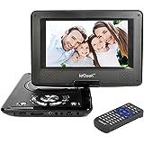 """ieGeek Lecteur DVD Portable 12.5"""" avec Écran Pivotant Support la Carte SD et USB Charge de Voiture et Compatible MP3/ MP4/AVI/RMVB/TXT/JPEG – Noir"""