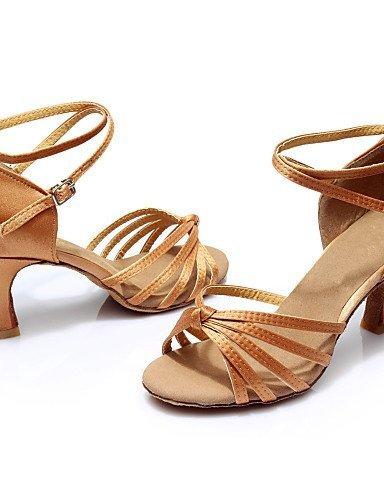 ShangYi Chaussures de danse ( Noir / Bleu / Marron / Rouge / Argent / Or / Léopard / Autre ) - Personnalisables - Talon Personnalisé -Satin / Brown