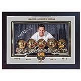 SGH SERVICES Gerahmter Fotodruck Lionel Messi Barcelona Leo signiertes Autogramm, Fotoposter als Vordruck, gerahmt, MDF-Rahmen