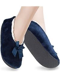 1 Paar Kinder Plüsch-Ballerina ABS Hausschuhe Haussocken - Gr.27-35 - Footstar