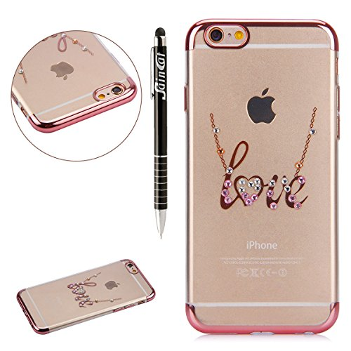 Custodia iPhone 7, iPhone 7 Cover Silicone, SainCat Cover per iPhone 7 Custodia Silicone Morbido, Custodia Bling Glitter Strass Diamante Silicone 3D Design Ultra Slim Silicone Case Ultra Sottile Morbi Lettere AMORE #2