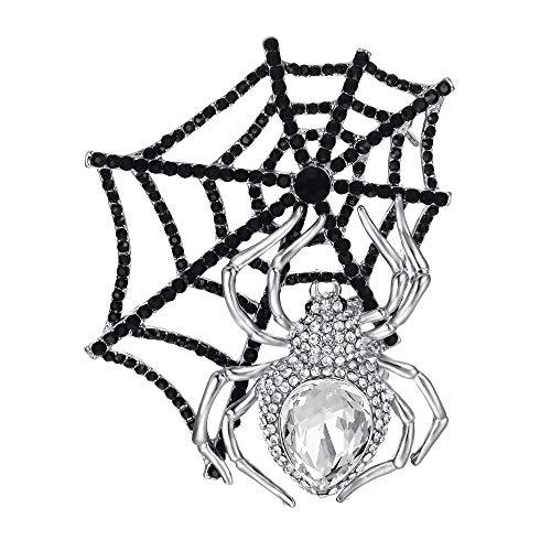 Flyonce Strass Kristall Halloween Gothic Style Spinnennetz Teardrop Brosche Schwarz Silber-Ton - Halloween Strass