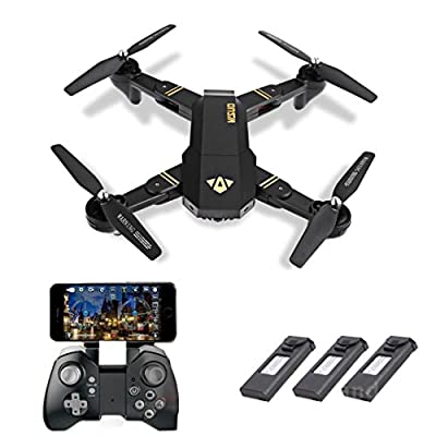 VISUO XS809HW Wifi FPV Foldable Selfie Drone RC Quadcopter with 3 Recahargeable Battery, 2MP 720P Videos HD Camera, 2.4G 4CH Transmitter, Mobole Phone Tablet App Gravity Control Trajectory Flight