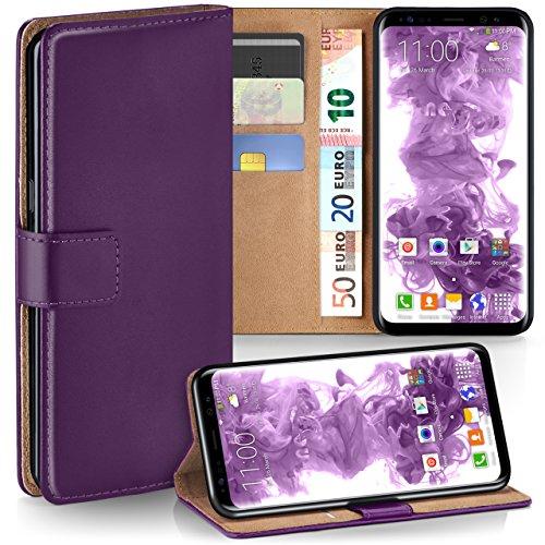 moex Samsung Galaxy S9 | Hülle Lila mit Karten-Fach 360° Book Klapp-Hülle Handytasche Kunst-Leder Handyhülle für Samsung Galaxy S9 Case Flip Cover Schutzhülle Tasche