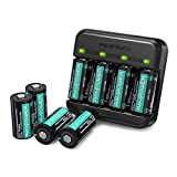 RAVPower Rechargeable Batteries 8 Pack Protected Batteries with Arlo Battery Charger and Battery Case 3.7V 700mAh for Arlo VMC3030 VMK3200 VMS3330 3430 3530 Wireless Security Cameras
