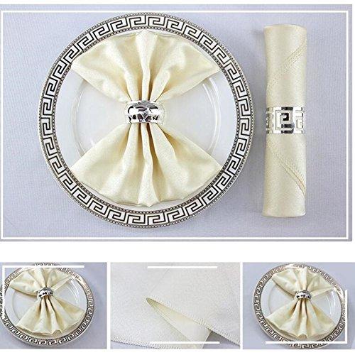 50,8cm Square Premium Polyester Tuch Servietten 10Pack-Übergroße, doppelt gefaltet und gesäumt Tisch Servietten für Restaurant, Bistro, Hochzeit, Thanksgiving und Weihnachten beige -