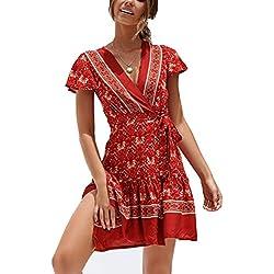 Ajpguot Vestido de Verano Mujer Impresión Mini Vestidos de Playa V-Cuello Manga Corta Vestido con Cinturón Sundress Elegante Corto Dress de Partido Fiesta (XL, 183045 Rojo)
