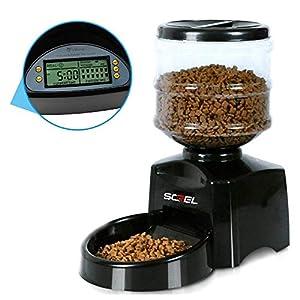 Screl Distributeur Automatique de croquettes pour Chien et Chat jusqu'à 3 Repas programmable de Nourriture (Heure, Portion) 5.5L
