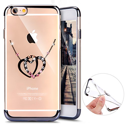 Hülle Silikonhülle für iPhone 7, iPhone 8 Schutzhülle Handyhülle Transparent,Herbests Electroplate Galvanisieren mit Brillant Funkeln Sparkle Diamond Kristall Gel Transparent Klar Clear Cover Handyhülle Skin Case, Weich Felxible Rubber Gummi Schwan Strass Ultra Slim Thin dünn Ultraleicht Shockproof Rückschale Etui Bumper für iPhone 7/8-Schwarz Doppelte Liebe