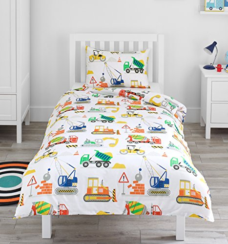 Bloomsbury Mill Construction Vehicles - Trucks, Diggers & Cranes - Kids Bedding Set - Single Duvet Cover & Pillowcase