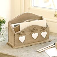 Shabby Chic Wooden Letter Desk Tidy W21cm x H14cm x D7.5cm by dibor-French Style Accessories for the home