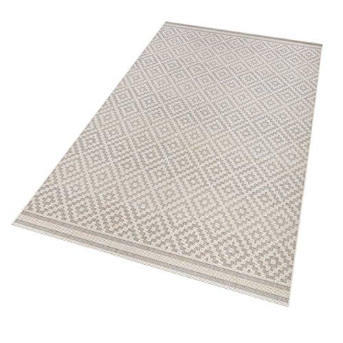 bougari In- und Outdoor Teppich Raute Grau Creme, 160x230 cm
