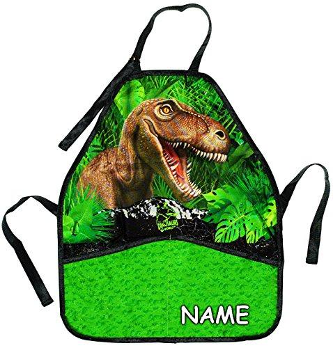 Unbekannt Kinderschürze -  Dinosaurier / T-Rex  - incl. Name - größenverstellbar mit 2 Taschen - Schürze / beschichtet & wasserfest - für Jungen - Kinder - Backschürz.. -