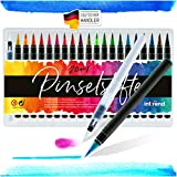 int!rend Pennarelli acquerellabili | 20 colori acquerelli + acqua pennello, brush pen set per diario, calligrafia, lettering pen per disegnare e dipingere