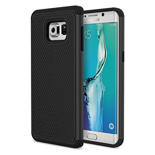 Moko samsung s6 edge+ plus case - [anti scivolo & graffi] custodia halo serie rigida con paraurti pc per samsung galaxy s6 edge + plus smartphone 2015, nero (non adatto per s6 edge)
