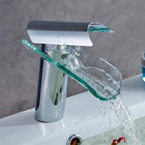 Auralum - Miscelatore monocomando per lavabo, con doccetta estraibile, 2 getti, cromato (Cascata)