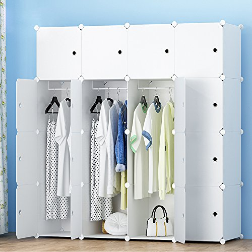 ETTBJA DIY Plastik Schrank Portable Kleiderschrank Lagerung mit Aufkleber Design ihre eigenen (16 Würfel mit 3 hangers)