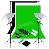 Excelvan Studio Umbrella Continuous Lighting Backdrop Kit - 3 Muslin Backdrops (White,Green,Black) + 2 Umbrellas + 2X 125W Light Set + Background Support Stand System + Lighting Stand + Portable Bag