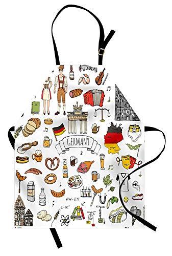 Deutsche Schürze, Hand gezeichnetes Gekritzel der deutschen Kulturikonen Fußball-Trikot-Nahrungsmittelwissenschaft und -musik, Unisexküchen-Latzschürze mit justierbarem Hals für das Kochen backende Ga -