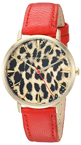 Vince Camuto Women's VC/5348LERD Gold-Tone and Red Leather Strap Watch