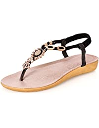 Wenyujh Damen Frauen Sommer Schuhe Böhmen Blumen Sandalen Süß Wulstig Strand Schuhe (39, Beige)