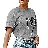 ADESHOP Mode Manche Courte Simple Femmes Col Rond Impression D'amour Couleur Pure Slim T-Shirt Blouse Haut DéContractéE Été ÉLasticité Manche Courte (S, Gris)