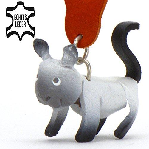 Siamkatze Samira - Katzen Schlüsselanhänger Figur aus Leder in der Kategorie Geschenkartikel / Geschenkpapier / Katzenpullover von Monkimau in weiß grau schwarz - ca. 5cm klein