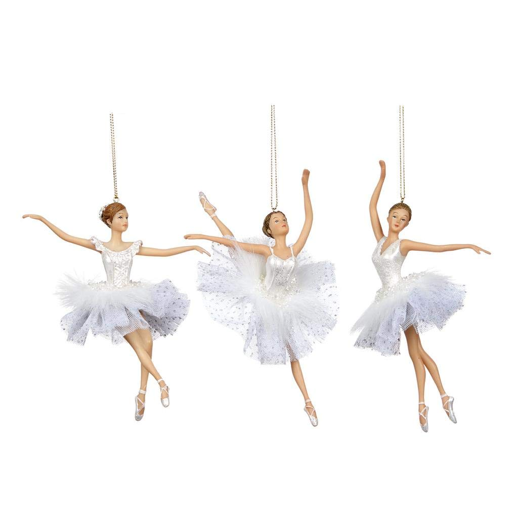 Decorazioni Natalizie Ballerine.Good Will Set Di 3 Decorazioni Natalizie In Resina E Tessuto A